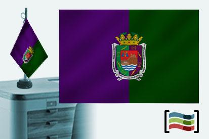 Bandera de Málaga sobremesa bordada