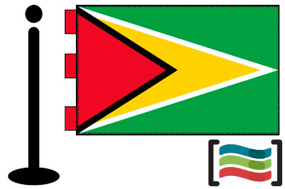 Bandera de Guyana sobremesa bordada