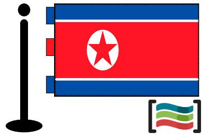 Bandera de Corea del Norte sobremesa bordada