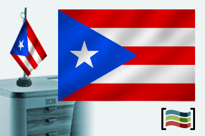 Bandera de Puerto Rico sobremesa bordada