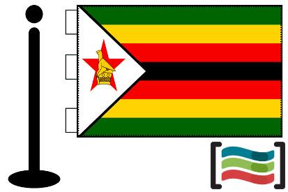 Bandera de Zimbabwe sobremesa bordada