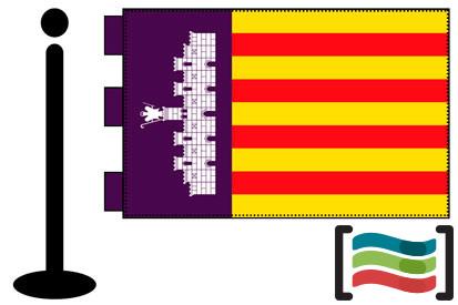 Bandera de Palma de Mallorca sobremesa bordada