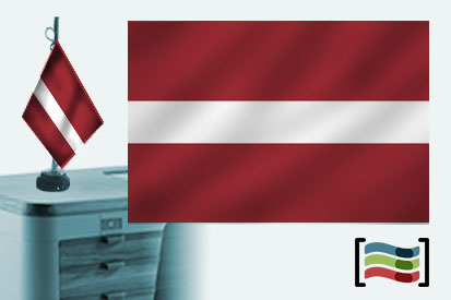 Bandera de Letonia sobremesa bordada