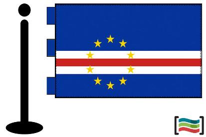 Bandera de Cabo Verde sobremesa bordada