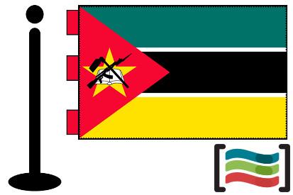 Bandera de Mozambique sobremesa bordada