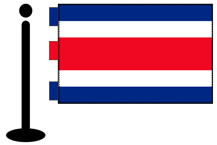 Bandera de Costa Rica sobremesa bordada