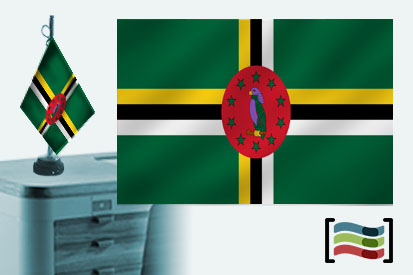 Bandera de Dominica sobremesa bordada