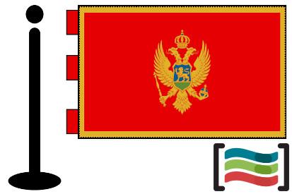 Bandera de Montenegro sobremesa bordada