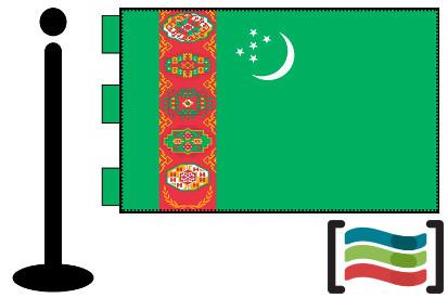 Bandera de Turkmenistán sobremesa bordada