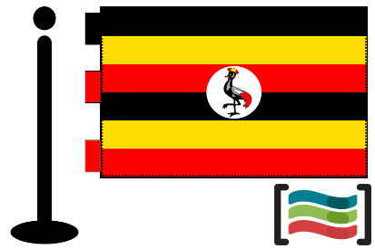 Bandera de Uganda sobremesa bordada