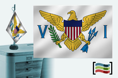 Bandera de Islas Vírgenes Americanas sobremesa bordada