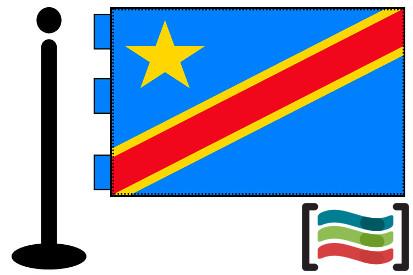 Bandera de República Democrática del Congo sobremesa bordada