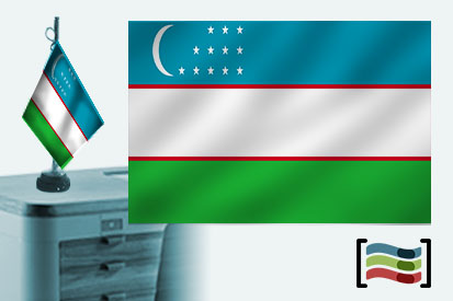 Bandera de Uzbekistán sobremesa bordada