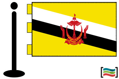 Bandera de Brunei sobremesa bordada