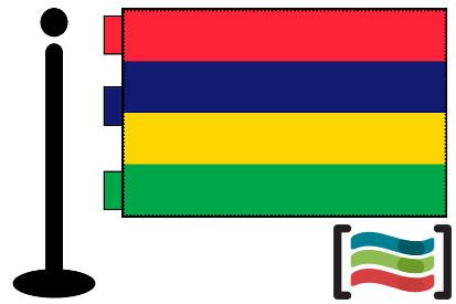 Bandera de Mauricio (islas) sobremesa bordada