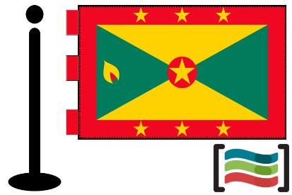 Bandera de Granada (país) sobremesa bordada