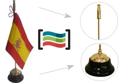 Flag of Spain embroidered table top and wooden base mast