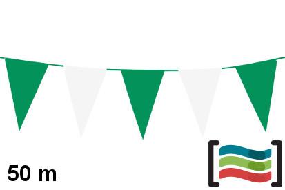 Banderines verde y blanco de plástico