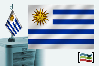 Bandera de Uruguay sobremesa bordada