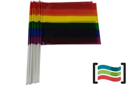 Banderines de plástico Gay con palo 10 uds.