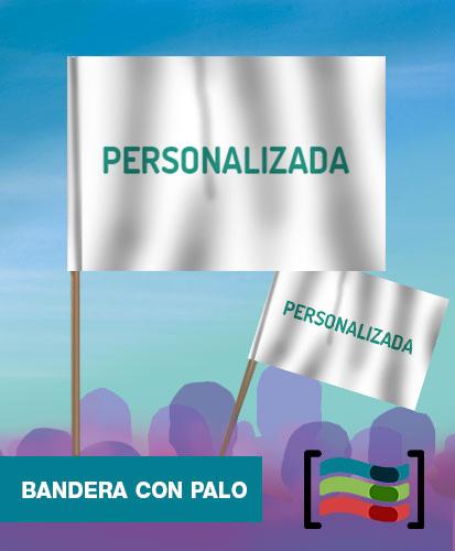 15 Banderas Personalizadas de mano de Tela con palo