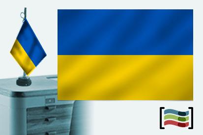 Bandera de Ucrania sobremesa bordada