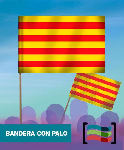15 Banderas de mano con palo de Cataluña