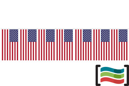 Banderines de plástico Estados Unidos 50m