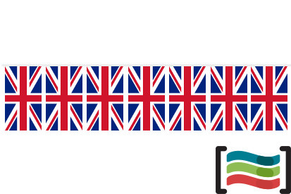 Banderines de plástico Reino Unido 50m