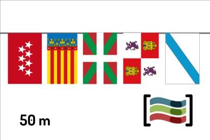 Banderines de plástico Comunidades Autónomas 50m