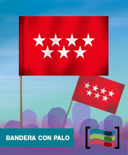 15 Banderas de mano con palo Comunidad de Madrid