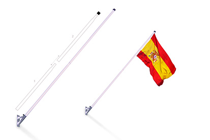 Steel wall mast (white) with gray base