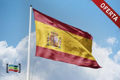 Mât en acier (blanc) + Drapeau de l'Espagne