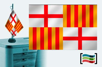 Bandera de Barcelona sobremesa bordada