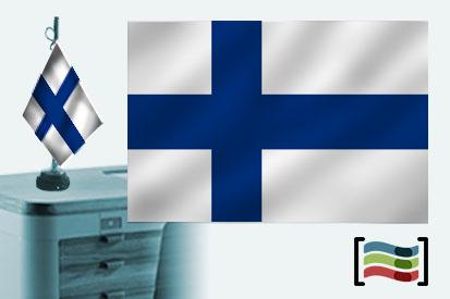 Bandera de Finlandia sobremesa bordada