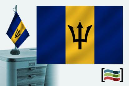 Bandera de Barbados sobremesa bordada
