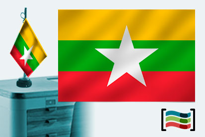 Bandera de Birmania (Myanmar) sobremesa bordada