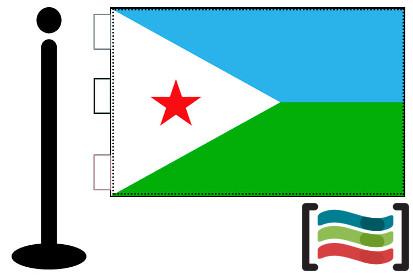 Bandera de Djibouti sobremesa bordada