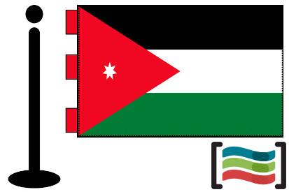 Bandera de Jordania sobremesa bordada