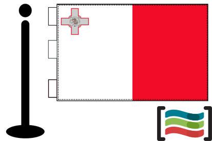 Bandera de Malta sobremesa bordada