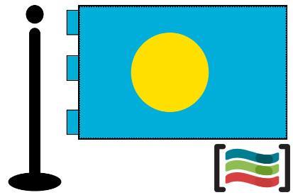 Bandera de Palau República sobremesa bordada