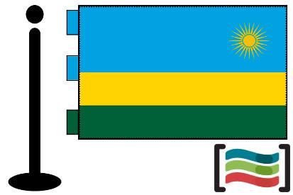 Bandera de Ruanda sobremesa bordada