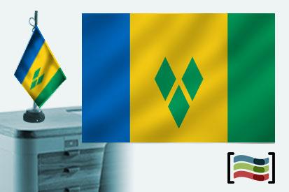 Bandera de San Vicente y Granadinas sobremesa bordada