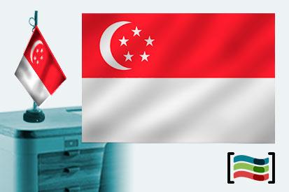 Bandera de Singapur sobremesa bordada