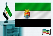 Bandera de Extremadura sobremesa bordada