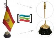 Bandera de España sobremesa bordada y mástil base de madera