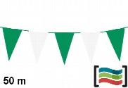 Bandeirola de plástico verde e branca 50m
