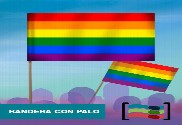 Gay Pride flag with stick
