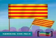 15 Banderas Cataluña de mano con palo de Tela