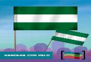 15 Banderas  Andalucía de mano con palo de Tela